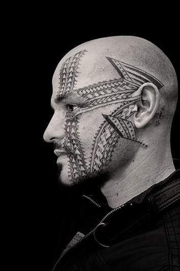 Brent McCown - Black Work Face Tattoo