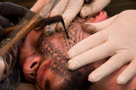 Tattoos - Black Work Face Tattoo - 60479
