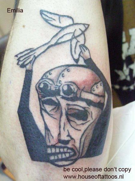 Tattoos - Black and Grey Bird Tattoo - 60480