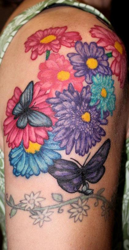 Tattoos - Color Flower and Butterfly Tattoo - 60908