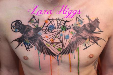 Tattoos - Abstract water colour swallows - 108754
