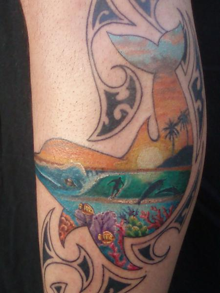 Tattoos - Color Dolphin Tattoo - 61941