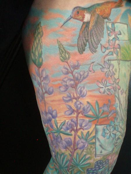Tattoos - Color Humming Bird and Flowers Tattoo - 61942