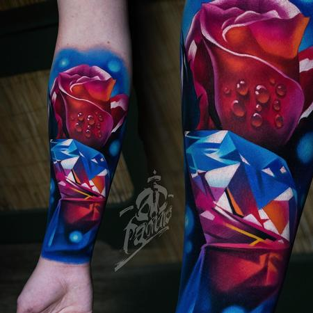 A.D. Pancho - Color Rose and Diamond Tattoo