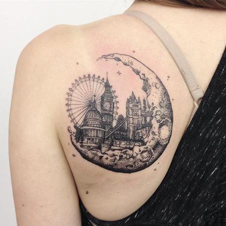 Tattoos - Blackwork City of London in Moon - 121730