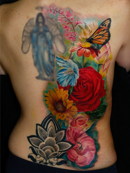 Tattoos - Floral Back Piece - 106705