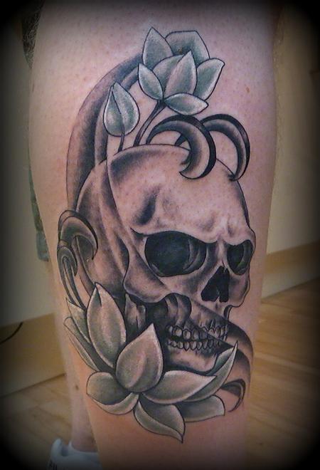 Tattoos - Lotus and skull - 64013