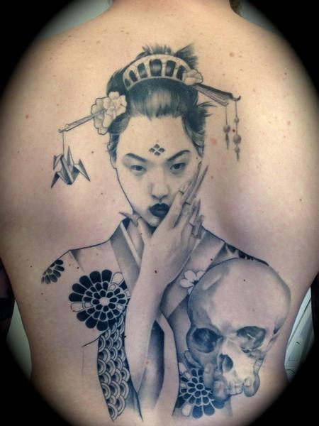 Tattoos - Geisha Back with Skull - 101583