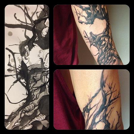 Annabelle Headlam - Tree- tattooed after own original ink drawing