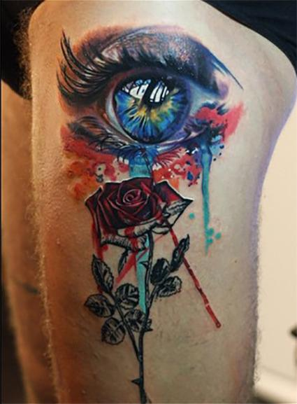 Tattoos - eye and rose, antonio proietti, Camdentown tattoo - 113572