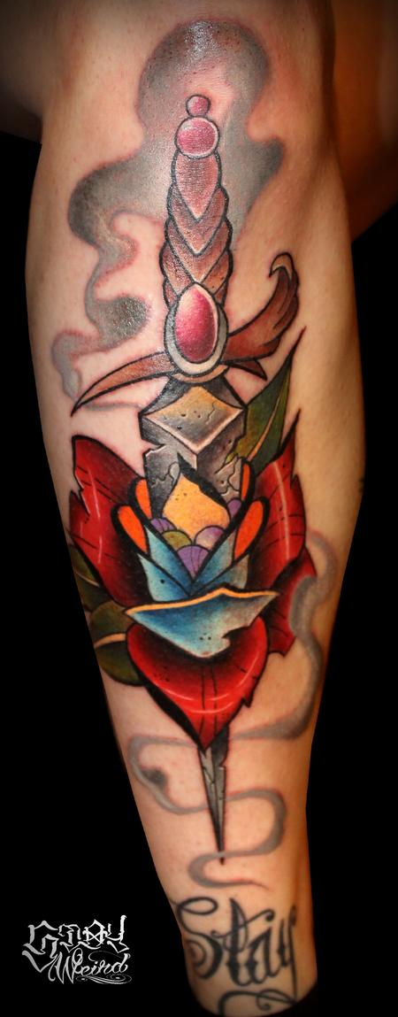 Tattoos - Rose and Dagger - 109470