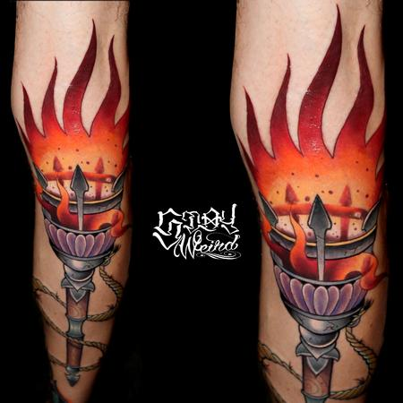 Tattoos - Middle Ages Torch - 109474