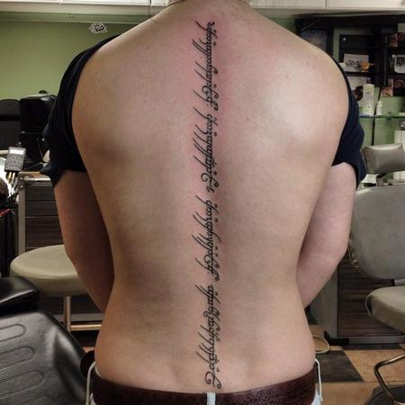 Tattoos - LOTR - Elvish tattoo down spine - 108360