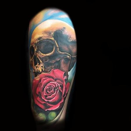 Tattoos - skull red rose - 114567