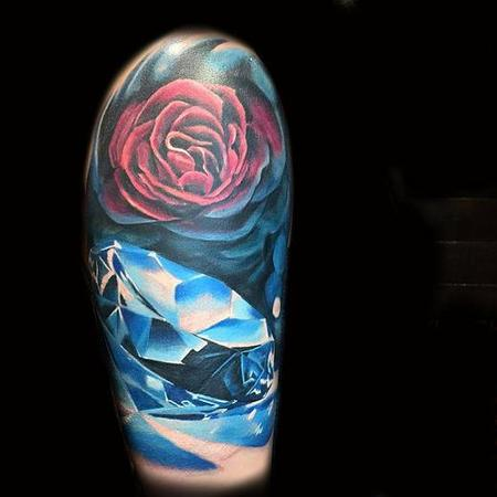 Tattoos - rose and diamond blue - 114568