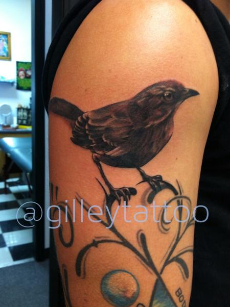 Brian Gilley - realistic black and grey bird tattoo