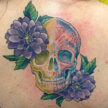 Tattoos - Skull/Sugar Skull Flowers - 115953