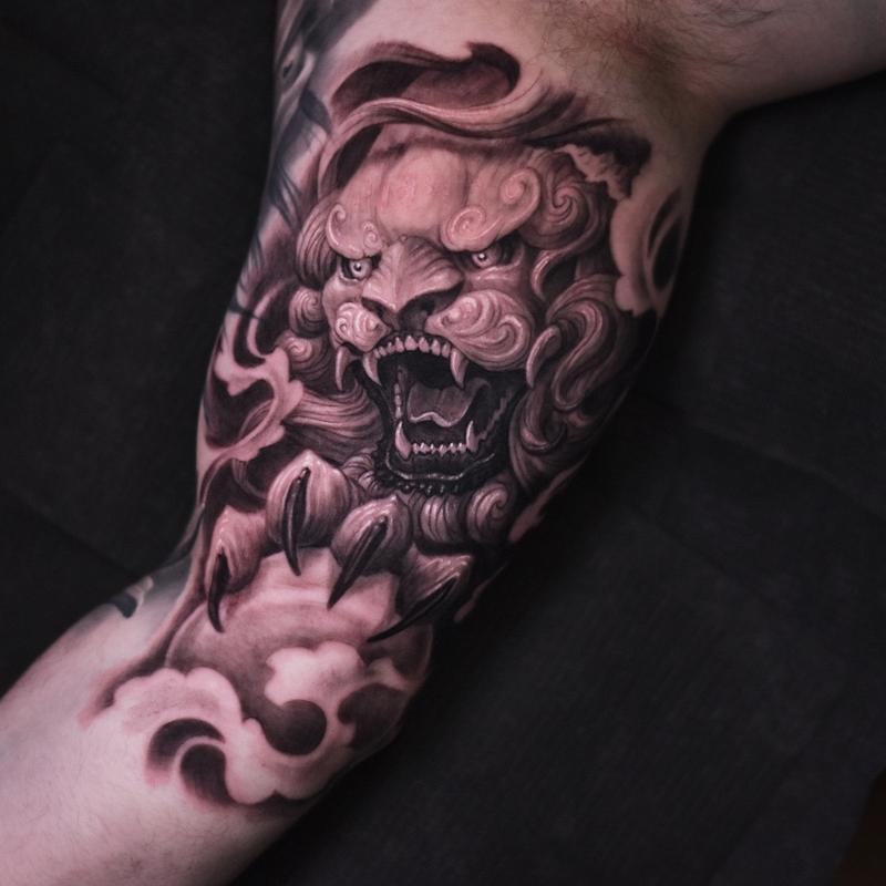 Foo Dog Tattoo By Travis Greenough Tattoonow