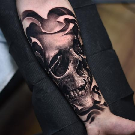 Tattoos - Black and Grey Skull - 138943