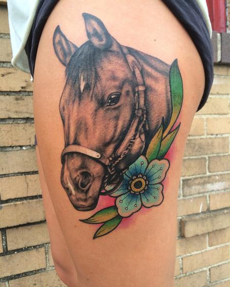Tattoos - Horse with flower - 122154