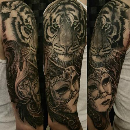 Tattoos - Black and gray Tiger and Womans portrait - 121701