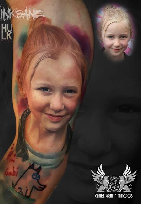 Tattoos - Little girl Colour Portrait Tattoo - 125681