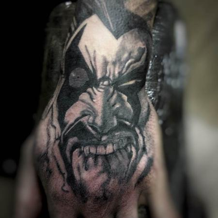 Tattoos - Black and Gray Cartoon Portrait Tattoo - 115613