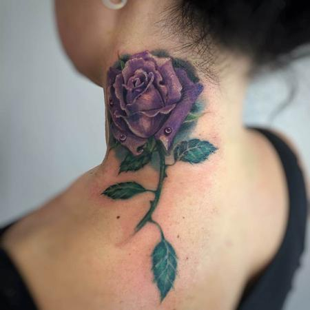Claudia Ferrarini - Purple Rose Neck Tattoo