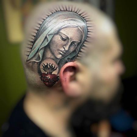 Tattoos - Virgin Mary Head Tattoo - 115618