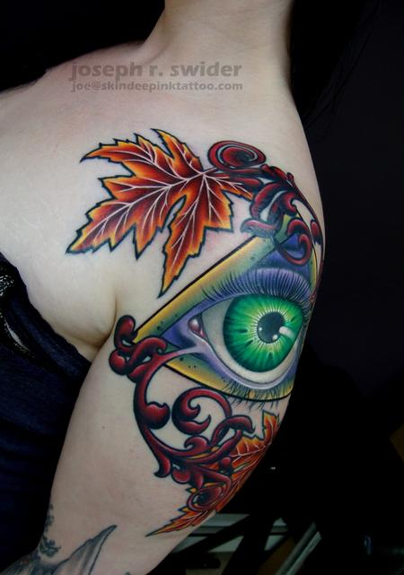 Tattoos - All seeing eye with leaves - 103803