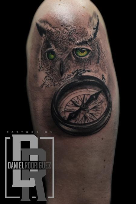 Tattoos - owl compass tattoo - 116042