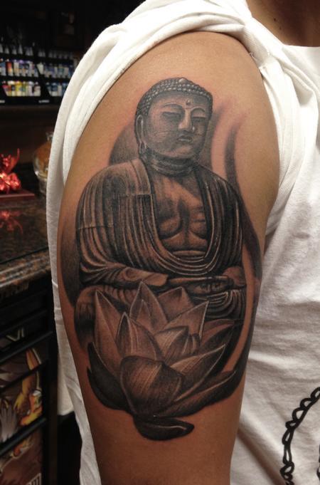 Tattoos - Buddha and White Lotus - 108600