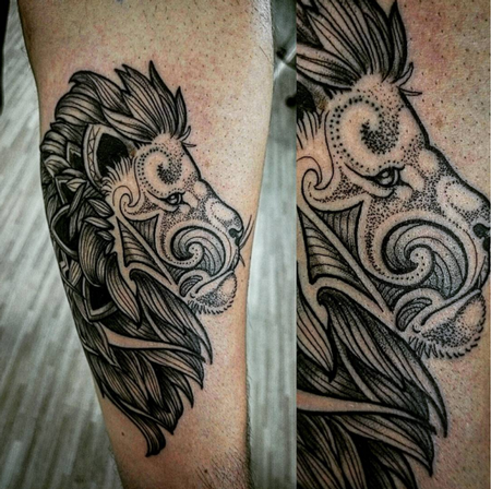 Tattoos - Dotwork Lion - 114476