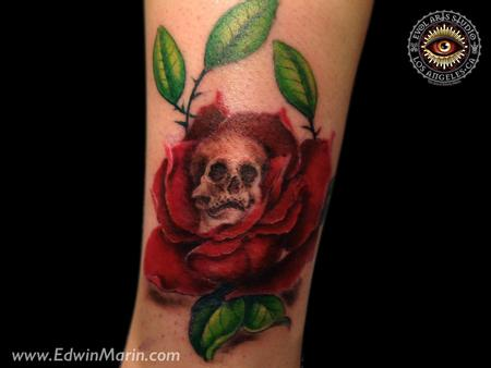 Tattoos - Skull Rose - 104705