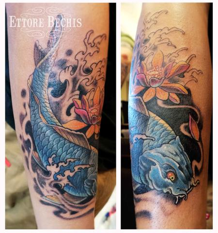 Tattoos - Koi Fish Blue - 114972
