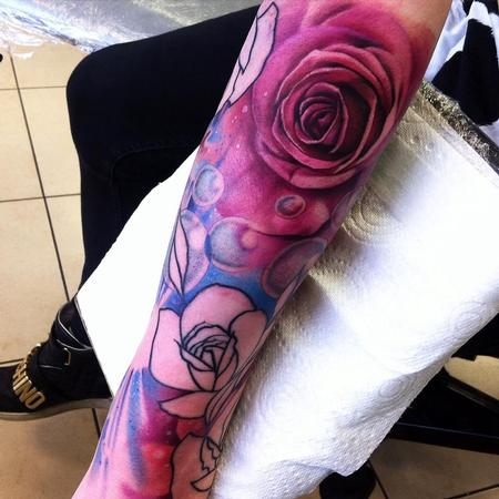 Tattoos - Pink Rose and Bubbles - 117696