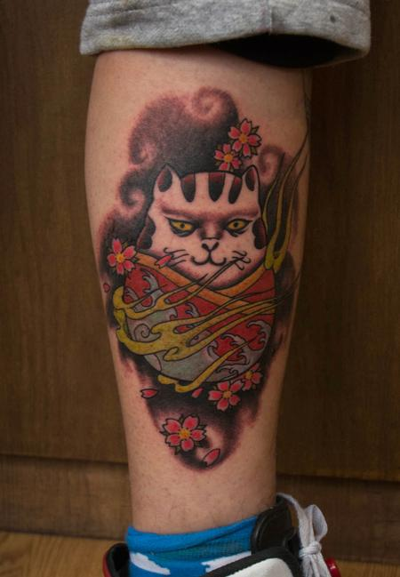 Tattoos - Scary Cat and Cherry Blossoms - 101442