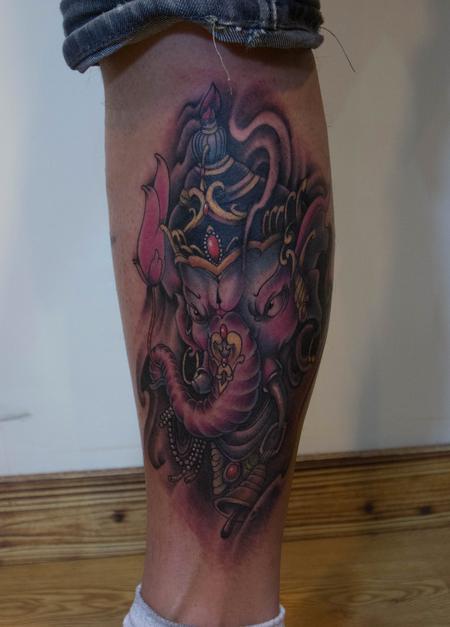 Tattoos - Ornate Decorated Ganesh Elephant God - 101364