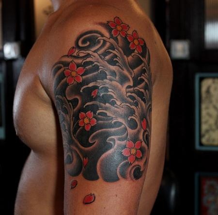 Tattoos - Waves and Blossoms - 101148