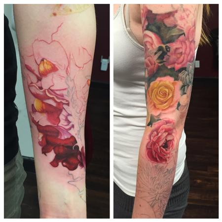Tattoos - Floral sleeve progress - 111911