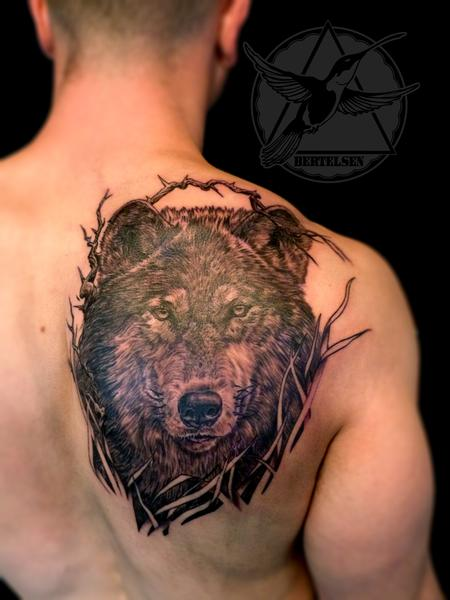 Tattoos - Black and Grey Wolf Tattoo - 108319