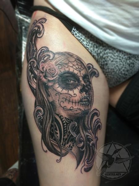Tattoos - Black and Grey Day of the Dead Girl - 108322