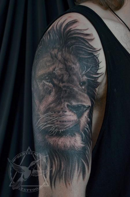 Tattoos - Black&Grey Lion Portrait  - 119461