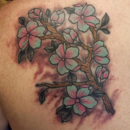 Tattoos - Blossom Branch Shoulder Tattoo - 114780