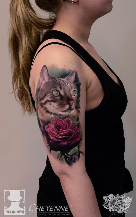 Tattoos - Cat & Rose - 114510