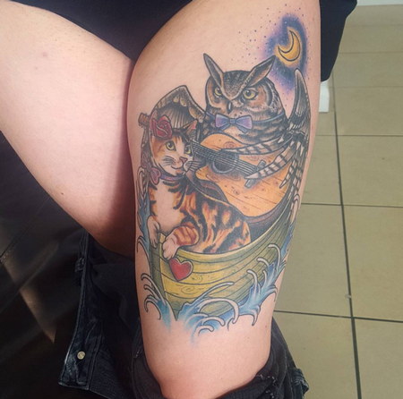 Tattoos - Owl and Cat Under the Moon Leg Tattoo - 114790