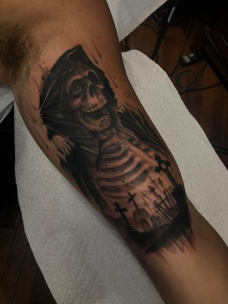 Tattoos - grim reaper inner arm - 141750