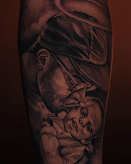 Tattoos - black and grey portrait tattoo of father and child - 141744