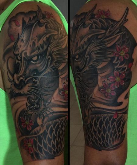 Tattoos -  black and grey dragon half sleeve - 141746