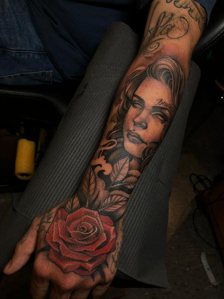 Tattoos -  hand rose and portrait - 141747